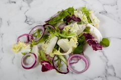 Lettuce salad onion white marble background royalty free stock image