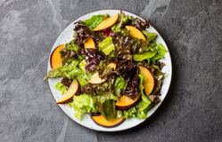 Lettuce salad with plums, slate background. Lettuce salad with plums, slate grey background. Top view Royalty Free Stock Image