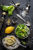 Lettuce Salad with Sweet Corn and Basic Dressing Ingredients Stock Photo