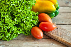Lettuce salad, tomatoes and bell pepper Stock Images