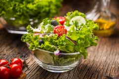 Lettuce salad with tomatoes onion cheese and olives stock photos