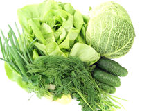 Lettuce, Savoy cabbage and cucumbers Stock Photo