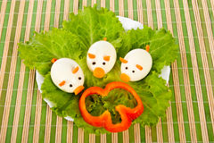 Lettuce and three eggs  Royalty Free Stock Images