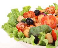 Lettuce,tomato,crouton and olive Royalty Free Stock Photo