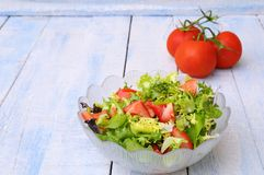 Lettuce and tomato salad. Stock Photo