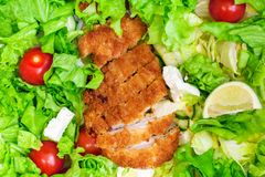 Lettuce,tomatoes,lemon and chicken.Nutrient rich food cocept. In background stock photo