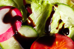 Lettuce with vegetables and balsamic vinegar Stock Photography