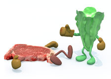 Lettuce vs meat Royalty Free Stock Photos