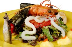 Lettuce With A Shrimp By Squid, Fish Red Caviar Stock Images