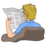 Lettura Classifieds dell'uomo illustrazione di stock