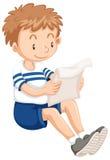 Lettura del ragazzo dalla carta illustrazione di stock