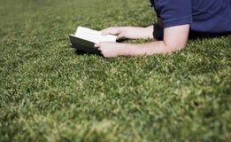 Lettura dell'uomo sull'erba fotografie stock libere da diritti
