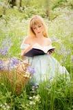 Lettura della donna nel prato di primavera Fotografia Stock