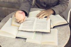 Lettura della ragazza libri all'aperto con la mela rossa Immagini Stock