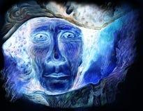 Lettura radiante blu del profeta dal libro di fiabe nella notte Fotografia Stock