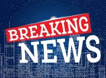 Letzte Nachrichten auf Neonstadt-Skyline-Hintergrund Lizenzfreie Stockfotos