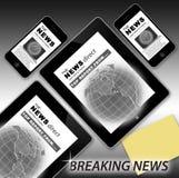 Letzte Nachrichten an der Tablette und am Telefon lizenzfreie abbildung