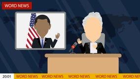 Letzte Nachrichten im Fernsehen lizenzfreie abbildung
