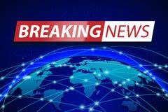 Letzte Nachrichten Live auf blauem Weltkartehintergrund Geschäftstechnologiekonzept Fahnendesign Fernsehnachrichten Vektor-Illust Stockfotografie