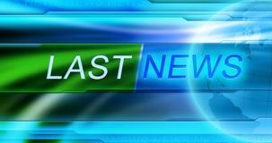 Letzte Nachrichtenhintergrundtapete Betiteln Sie LETZTE NACHRICHTEN in der Mitte der Fahne am blauen Hintergrund Lizenzfreies Stockbild