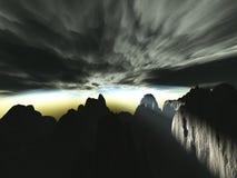 Letzte Strahlen der Sonne vor dem Sturm schlägt Stockfotografie