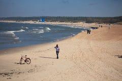 Letzte warme Tage in Palanga-Strand Stockfotografie