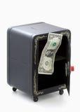 Letzter Dollar in der geöffneten leeren Kombinationsspielzeugquerneigung Lizenzfreie Stockfotos