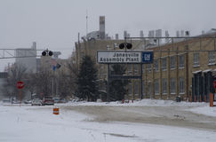 Letzter Tag für GR.-Anlage in Janesville, Wisconsin stockbild