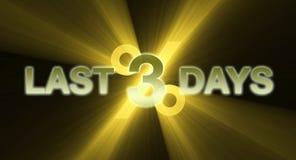 LETZTES 3 TAGESfahne im goldenen Gelb Lizenzfreies Stockfoto