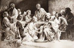Letztes Super von Christ - Fußwaschen lizenzfreies stockbild