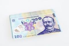 Leu rumano 100 del dinero Foto de archivo libre de regalías