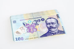 Leu rumeno 100 dei soldi Fotografia Stock Libera da Diritti