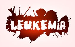 Leucaemia disease lettering. Leukemia lettering. Vector illustration in deep red color with letters on the blood spot isolated on a light background. leucaemia Vector Illustration