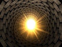 Leuchte am Ende eines Ziegelstein-Tunnels stock abbildung