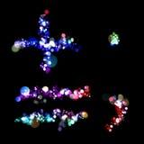 Leuchten in der Form von Plus, Gleichgestellte, Zeitraum, Komma stock abbildung