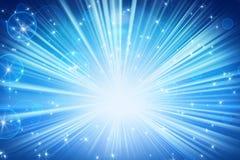Leuchten und blauer abstrakter Hintergrund der glänzenden Sterne Stockfotografie