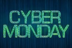 Leuchtende Aufschrift cyber-Montag-Konzeptes, Wiedergabe 3D Stockfoto