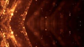 Leuchtende Partikel wie die Weihnachtslichter, die in der Luft, Fliegen hängen und abstrakte Formen und Oberflächen bilden Auszug stock video footage