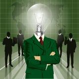 Leuchtenkopf-Geschäftsmann In Suit Stockbilder
