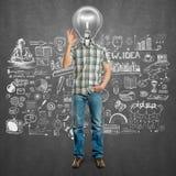 Leuchtenkopf-Mann stellt O.K. dar Lizenzfreie Stockfotografie
