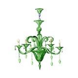 Leuchter des grünen Glases Dekoratives Bild einer Flugwesenschwalbe ein Blatt Papier in seinem Schnabel Lizenzfreie Stockbilder