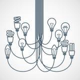 Leuchter hergestellt von den Glühlampen Lizenzfreie Stockbilder