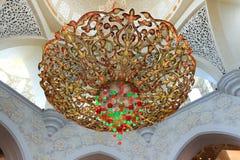 Leuchter in Scheich Zayed Grand Mosque Stockbild