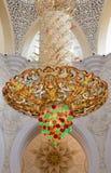 Leuchter in Scheich Zayed Grand Mosque Stockfotografie