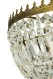 Leuchterlicht im Innenraum, Chrystal-Leuchternahaufnahme Kristallteil vom Leuchter, Leuchter, Beleuchtung, Ausrüstung, Luxus, Stockbild
