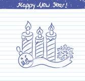 Leuchtet Illustration für das neue Jahr - Skizze auf Schulnotizbuch durch Stockfoto
