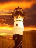 Leuchtfeuer des Duluth-Leuchtturmes am Sonnenaufgang Stockbilder