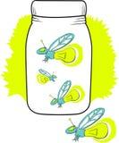 Leuchtkäfer in einem Glas Lizenzfreie Stockfotografie