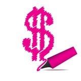 Leuchtmarkerfeder, die ein Dollarsymbol zeichnet Stockbild