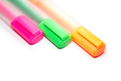 Leuchtmarkermarkierung oder highligh Stift Stockbilder